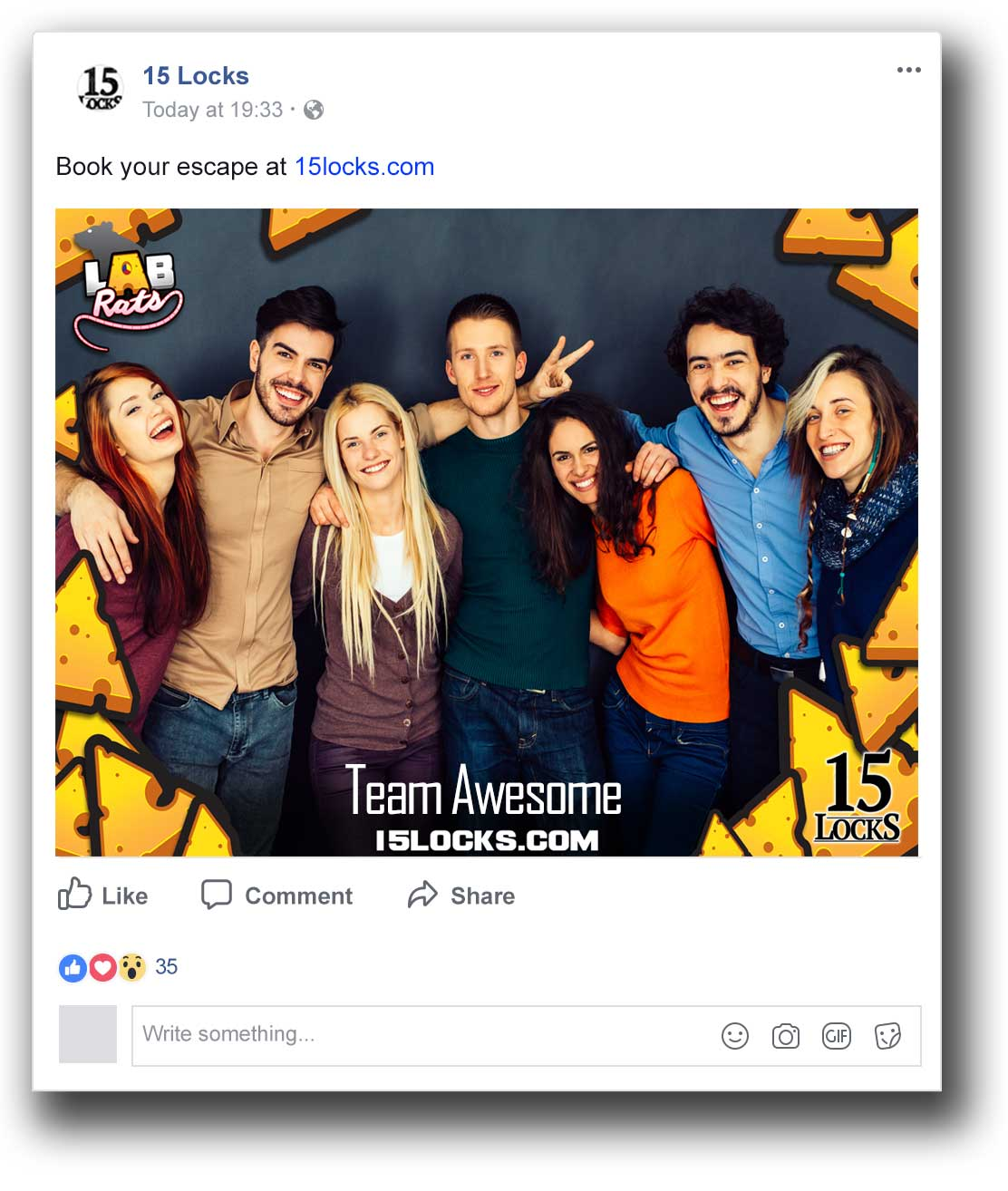 Buzzshot Escape Room Software uploads automatically to Facebook
