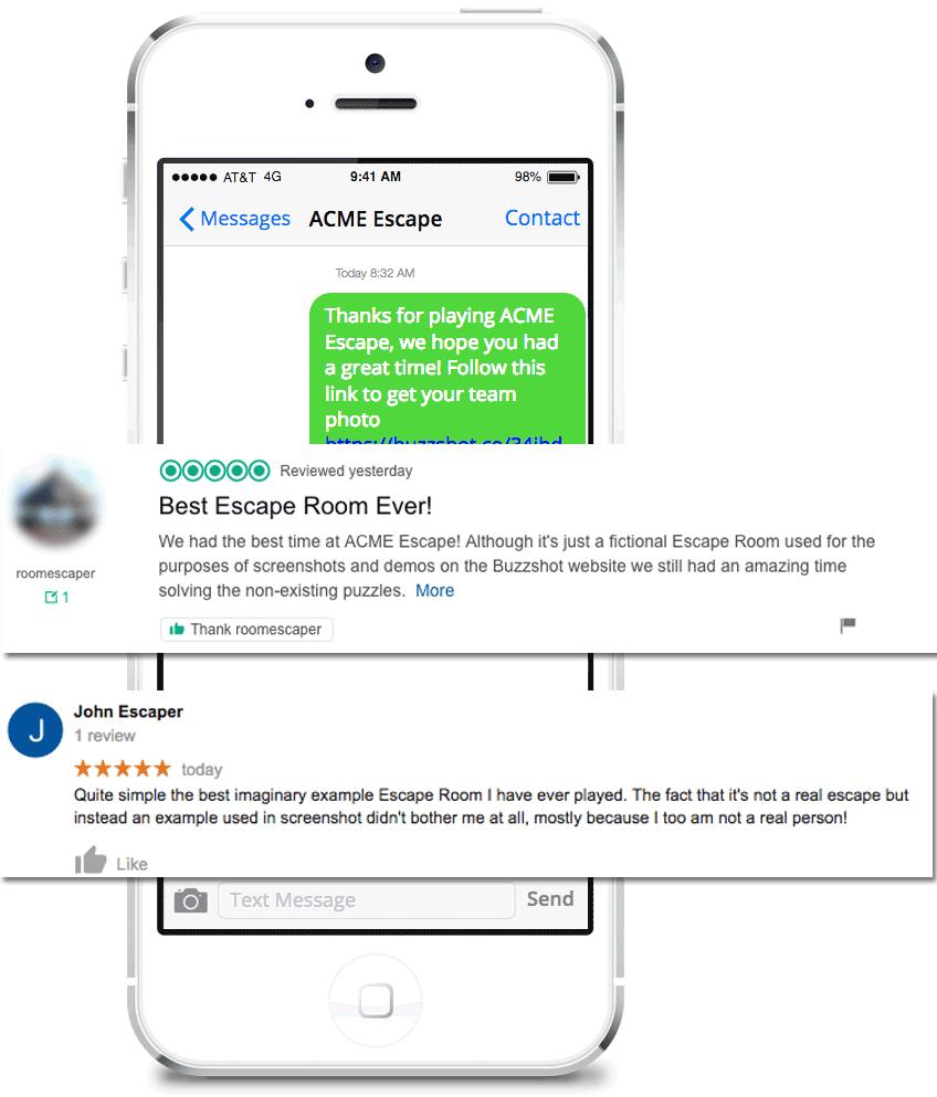 Buzzshot Escape Room Software sending an SMS message
